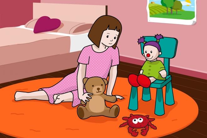 En la escena, se observa a una niña jugando con los muñecos en la alfombra de su cuarto.