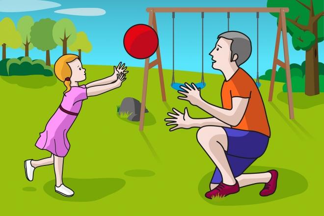 En la escena, se observa a una niña y a su padre jugando a la pelota en el parque.