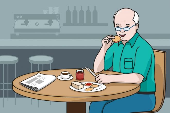 En la escena, se observa a una persona mayor comiendo una galleta, untada con mermelada y mantequilla, en la mesa de un bar.