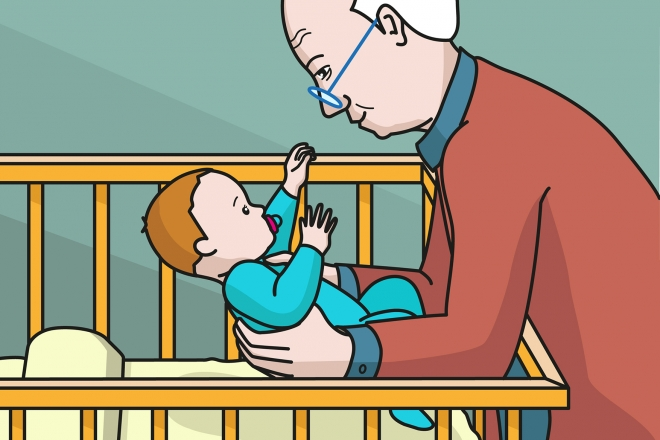 En la escena, se observa al abuelo agachado hacia la cuna y cogiendo al bebé en brazos.
