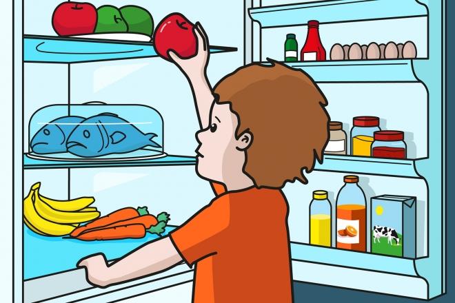 En la escena, se observa a un niño que está delante del frigorífico y cogiendo una manzana de una de sus estanterías.