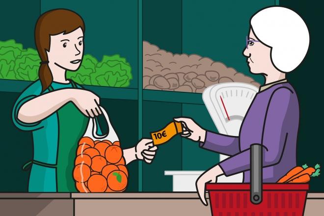 En la escena, se observa a una señora mayor comprando naranjas y efectuando el pago. La verdulera le entrega la bolsa de naranjas y estira la mano para recoger el dinero.