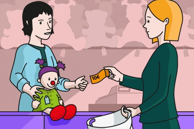 En la escena, se observa a una mamá comprando una muñeca en la juguetería. La dependienta le entrega la muñeca y estira para recibir el dinero.