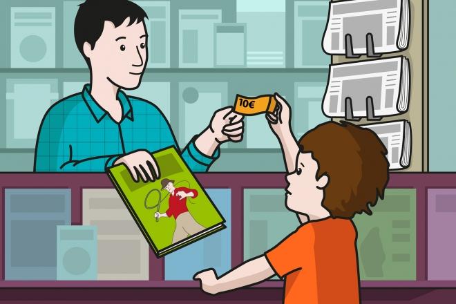 En la escena, se observa a un niño comprando un cómic en un quiosco. El quiosquero estira la mano para entregar el cómic y recoger el dinero.