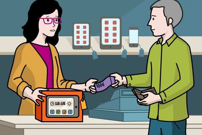 En la imagen, se observa al padre comprando una tableta en una tienda de electrónica. La dependienta le entrega la tableta y estira la mano para recoger el dinero.