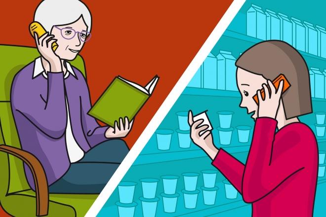 En la escena, se observa a una madre que está comprando yogures en el supermercado y hablando por teléfono móvil con la abuela para conocer el tipo de yogur que quiere que compre.
