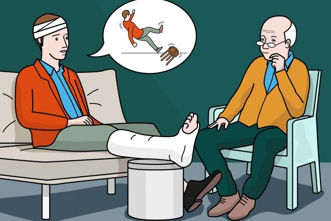 En la escena, se observa a un padre sentado en un sofá con la pierna escayolada y una herida en la cabeza contando a una persona mayor el accidente que ha sufrido y que le ha provocado estas heridas.