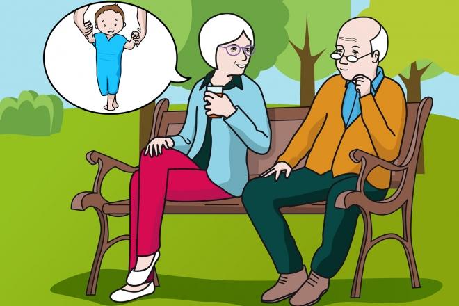 En la escena, se observa a dos personas mayores, un hombre y una mujer, hablando en el parque sobre los primeros pasos de su nieto.