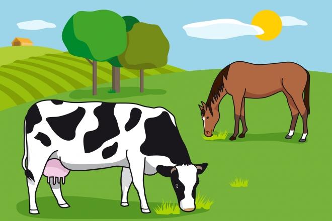 En la escena, se observa a una vaca y a un caballo comiendo hierba en el campo.