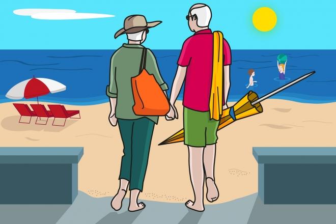 En la escena, se observa a dos personas mayores, cogidas de la mano, dirigiéndose hacia la playa.