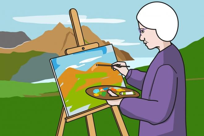 La abuela pinta un cuadro con el pincel