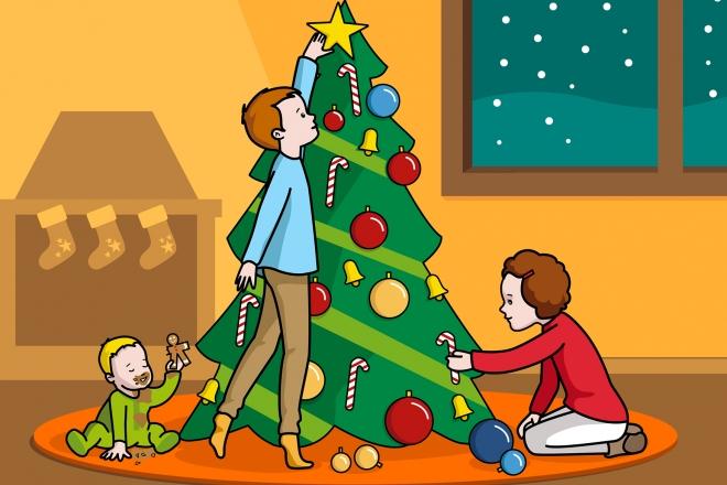 Escena en la que se ve a unos niños adornando el árbol de Navidad