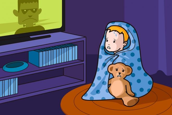 Escena en la que se ve a un bebé asustado mirando una película de miedo