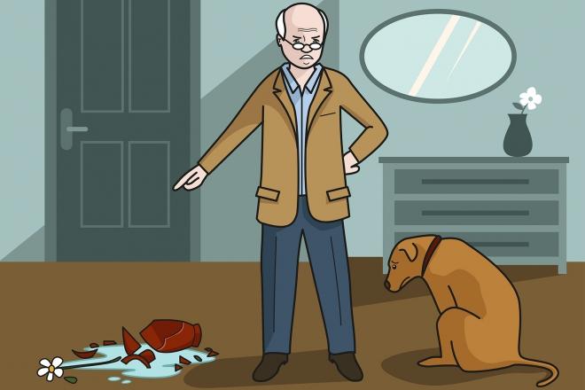 Escena en la que se ve al abuelo enfadado porque el perro ha roto un jarrón