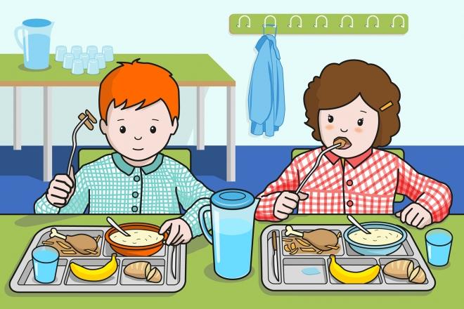 En la escena, se observa a un niño y a una niña comiendo pollo en el comedor del colegio.