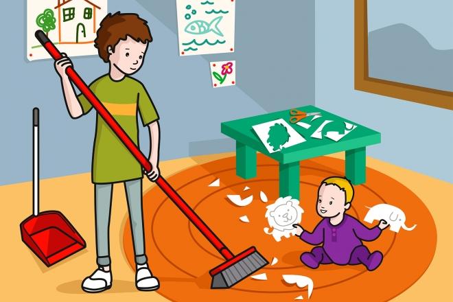 Escena en la que se ve a un niño barriendo papeles del suelo
