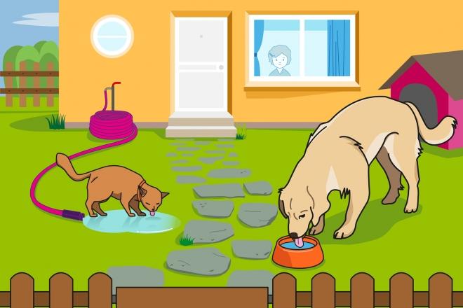 En la escena, se observa a un perro y un gato bebiendo agua en el jardín de la casa. El perro bebe el agua directamente del plato y el gato bebe el agua de un charco.