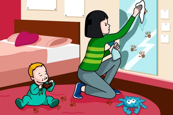 La niña limpia las manchas de un espejo