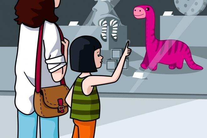 La niña quiere un dinosaurio