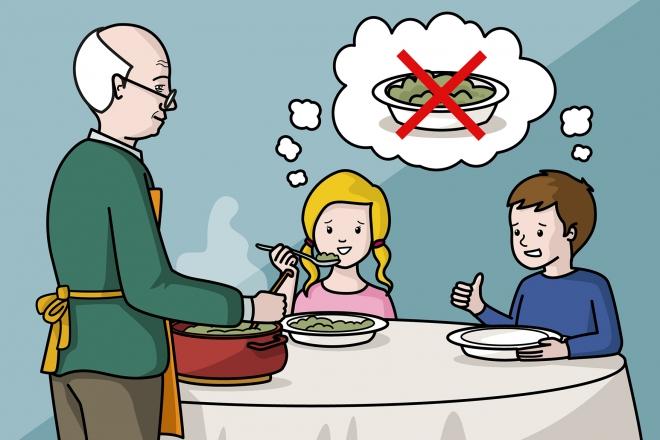 El abuelo sirve la comida que ha preparado, pero no le gusta a los niños