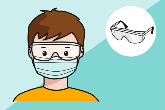 Colocación de gafas de seguridad