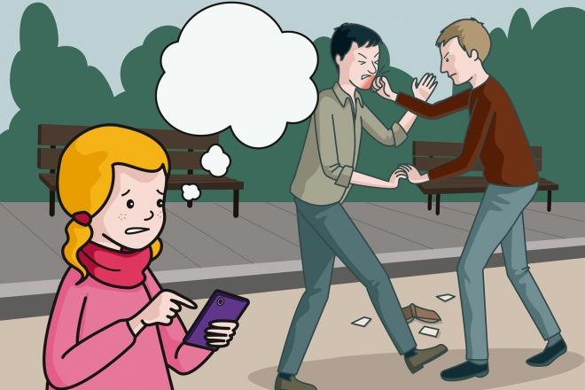 La niña ve una pelea en la calle y utiliza el móvil