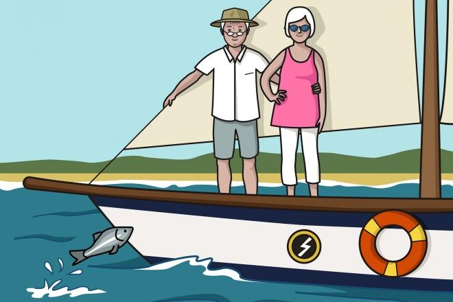 Los abuelos están en un barco