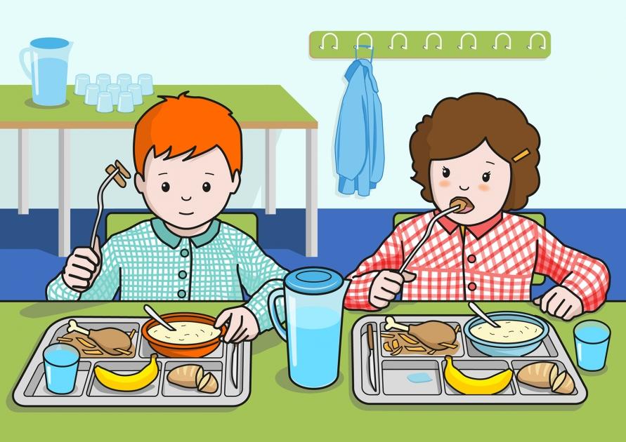El ni o y la ni a comen pollo en el comedor del colegio soyvisual - Trabajar en comedor escolar ...